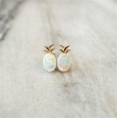 925 Yellow Gold Plated Pineapple Fire Opal Ear Stud Earrings Women Jewelry Gift