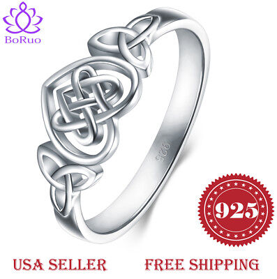 925 Sterling Silver Ring Boruo Celtic Knot Heart Eternity Wedding Band Size 4-12 925 Silver Celtic Ring