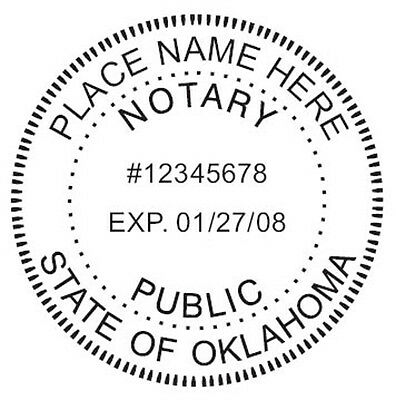Oklahoma Custom Round Self-inking Notary Seal Rubber Stamp Ideal 400r