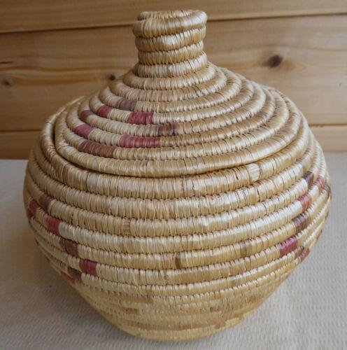 Native American Eskimo Ethnographic Yup`ik Coiled Basket Alaska Vintage