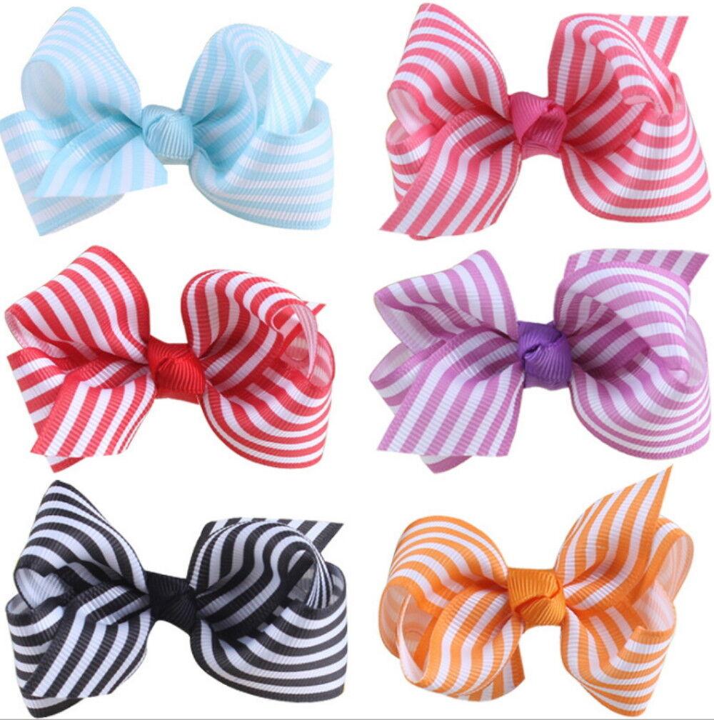 6 pcs Girls Hair Clips Baby Kids Hair Pin Ribbon Bow Hair Accessories NEW Baby