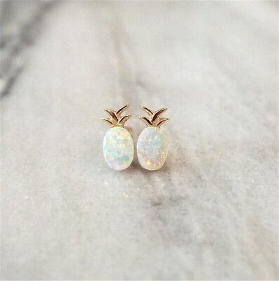 925 Gold White Opal Women Jewelry Fruit Pineapple Wedding Ear Stud Earrings