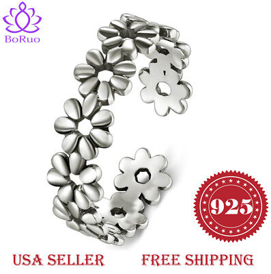 925 Sterting Silver Toe Ring, BoRuo Daisy Flower Hawaiian Adjustable Band Ring  ()