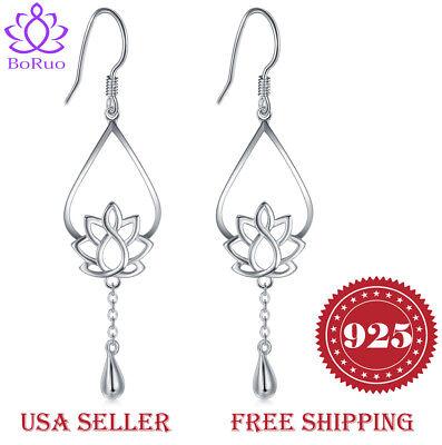 925 Sterling Silver Earrings, BoRuo Lotus Flower Yoga Earrings FREE SHIPPING