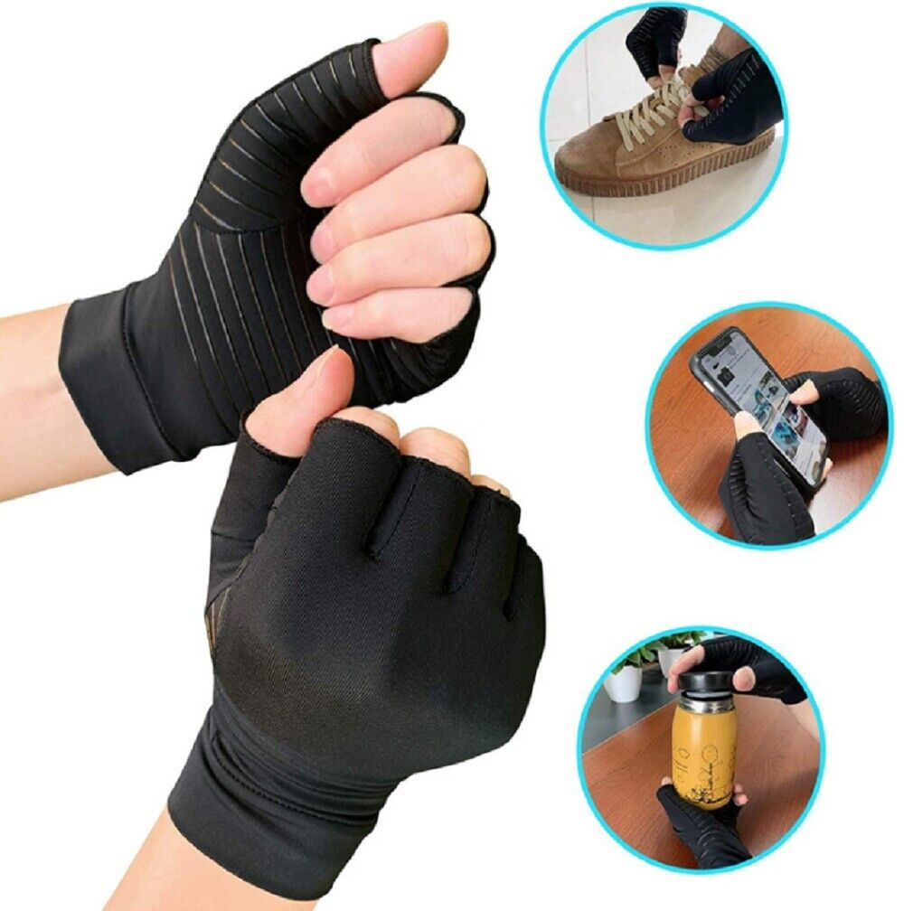 1 Pair  Copper Arthritis Compression Gloves Hand Support Joint Pain Relief US Health & Beauty
