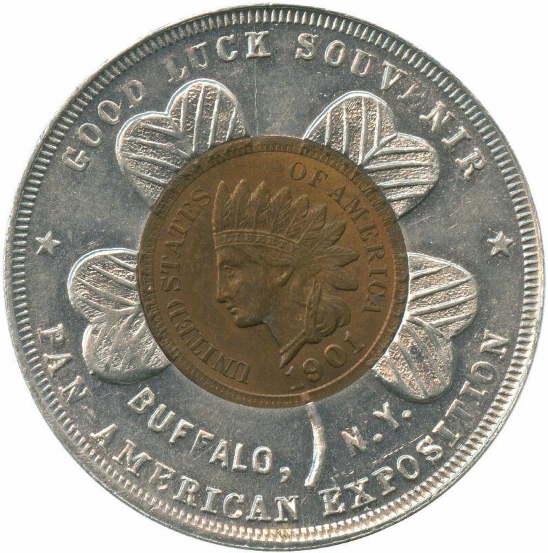 Pan-American Express Buffalo, NY Good Luck Token Encased 1901 Indian Cent
