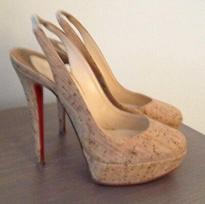 Authentic Christian Louboutin $895 'Bianca' Platform Cork Heels Shoes - 36