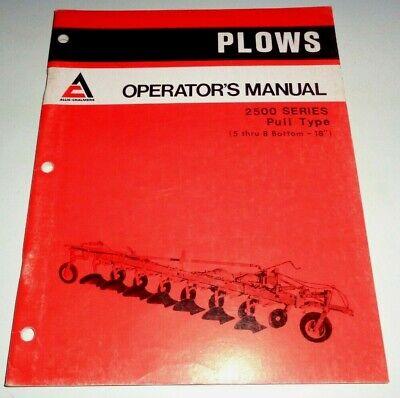 Allis Chalmers 2500 Series Pull Type Plow Operators Owners Manual Ac Original