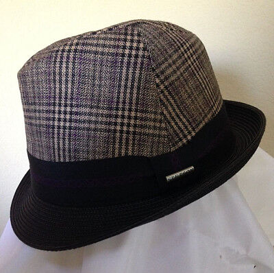 Golf Fedora (STETSON * MENS PLAID FEDORA HAT * L XL * TRILBY DRESS SUIT WOOL BLEND LINED GOLF)
