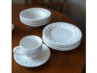 New and unused dinner service with serving dishes, cake stand etc