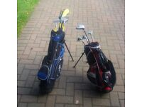 Junior golf bags and clubs