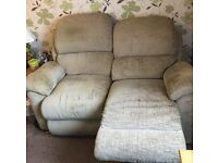Leona 2 seater sofa with two electric recliners and Leona arm chair with manual recliner