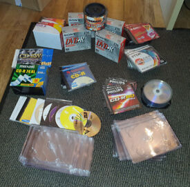 Job Lot of Writable Blank Discs DVDs Plus Some Cases - New