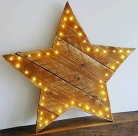 Reclaimed Wooden LED Warm White light up star.