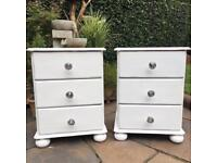2 X White Shabby Chic Pine Bedside Drawers