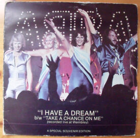 "ABBA: I HAVE A DREAM: 7""; stereo single record, vinyl, 45 gatefold cover. Special souvenir edition."