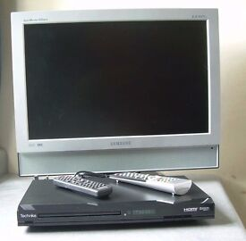 """SAMSUNG 19"""" MONITOR/TV AND HDMI DVD PLAYER WITH SCART LEAD AND REMOTES"""