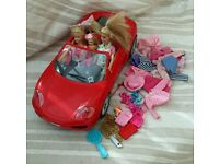 Ferrari Car with Dolls and clothes