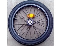 Brand new complete black alloy front 16 x 1.75 wheel, tyre and inner tube