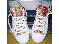 Womens White Floral Converse - Size 6