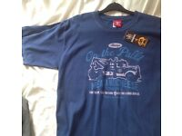 """NEW Meat and Cheese """"On the Pull"""" NAVY tshirt LARGE 100% cotton"""