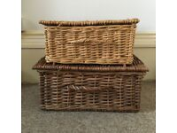 2 x vintage wicker baskets