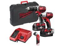 Milwaukee 4 Ah Cordless Drill and Impact Driver Combi Kit