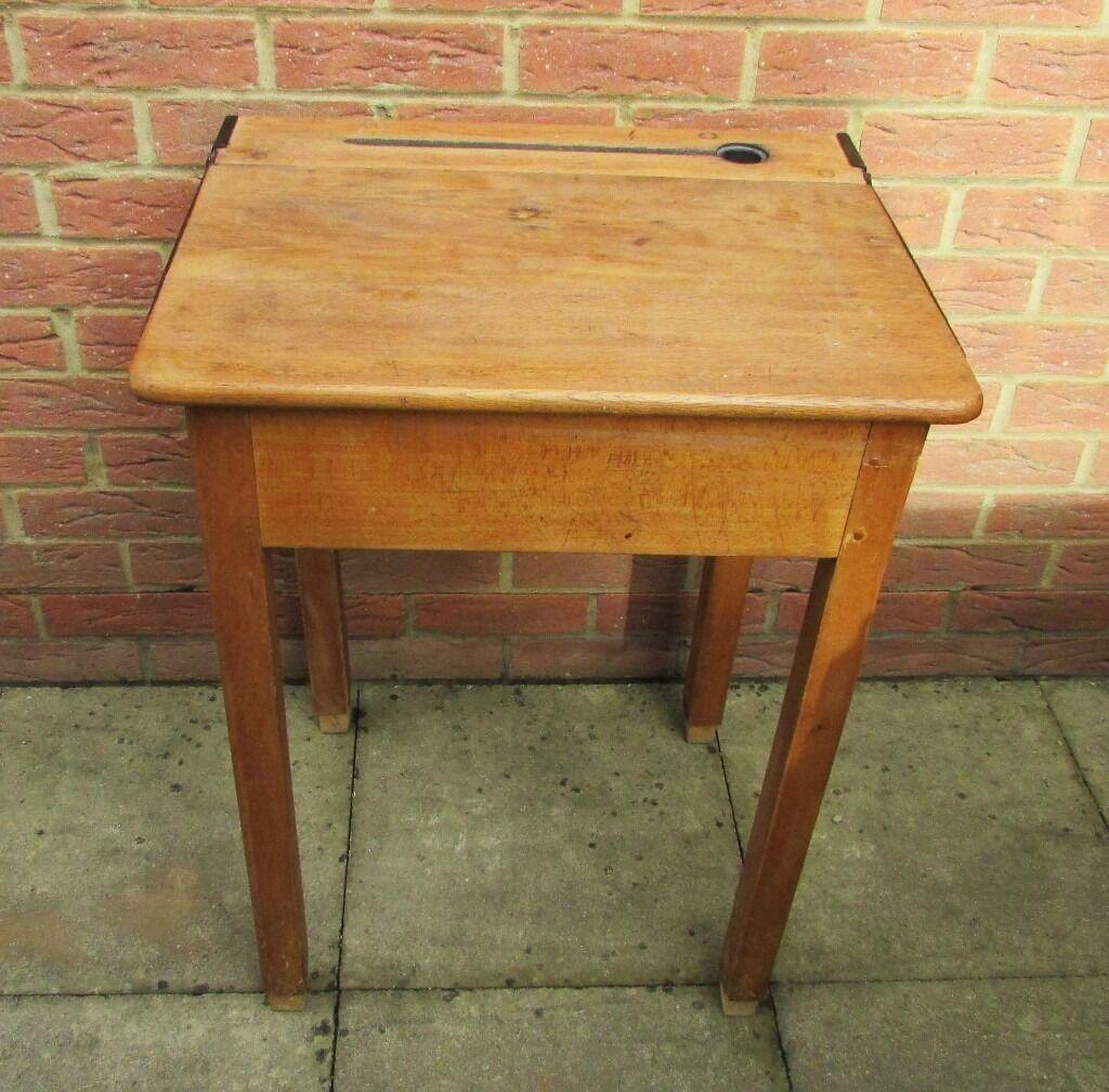 Original Old School Desk Wooden Lift Up Lid Vintage Well Used Collect Sittingbourne Kent