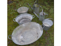 Collection of Six Vintage Galvanized Baths Bucket & Watering Cans for Gardeners