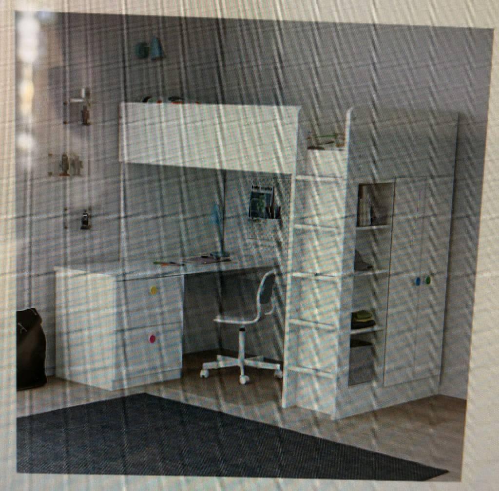 Ihram Kids For Sale Dubai: Stuva/Folja Loft Bunk Bed With Desk And Wardrobe
