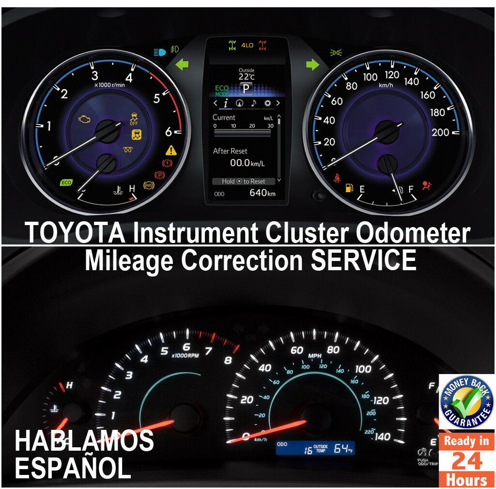 TOYOTA 1998-2017 Instrument Gauge Cluster Mileage Correction/Programming Service