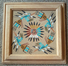 NATIVE AMERICAN INDIAN PICTURE - SUADE EFFECT & FRAMED - EXCELLENT CONDITION - £5