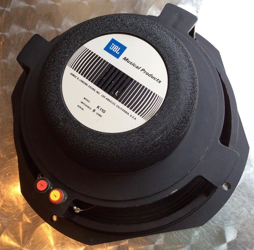 """JBL K110 Alnico 10Guitar Speaker8 Ohm (Fender, K 110Official JBL Reconein Whiteinch, GlasgowGumtree - JBL K110 Alnico 10"""" Guitar Speaker 8 Ohm (Fender, K 110), Official JBL Recone Make JBL Model K110 Serial 24592 Impedance 8 ohms (reads 6.2) Cone Code 29795 Original 80s JBL K110 alnico speaker. This has been reconed at some point with the official..."""