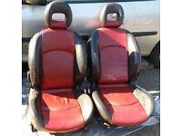 Peugeot 206cc Complete Red & Black Leather Interior.