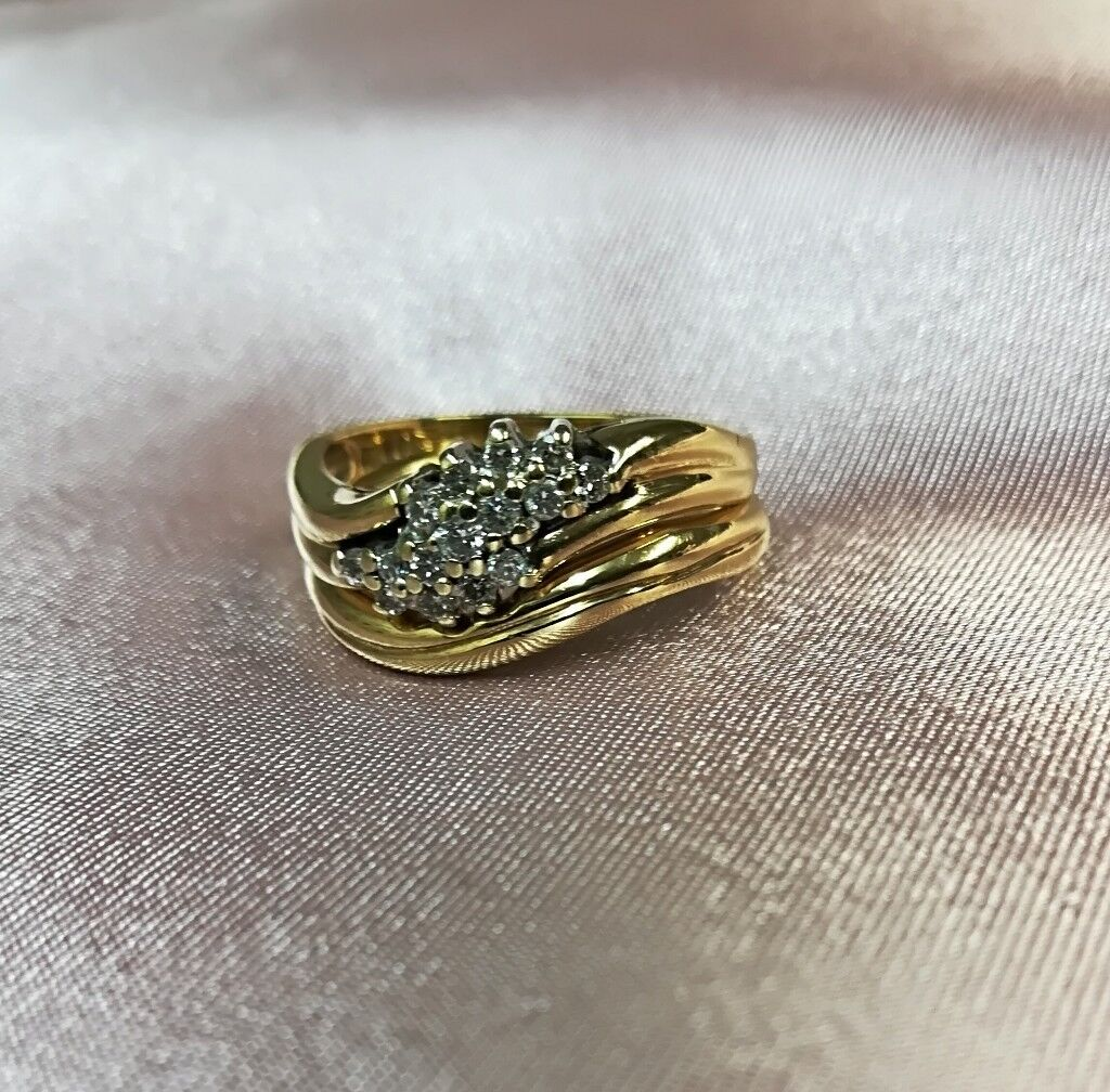 9ct Gold Diamond Cluster Engagement Ring And Matching Custom Made Wedding  Ring