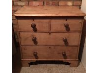 Pretty vintage stripped pine chest of drawers