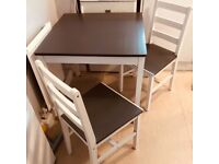Two tone kitchen table and two chairs
