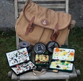 Fly Fishing Reels, Accessories and flies including boxes. Old Fly fishing bag added for good luck