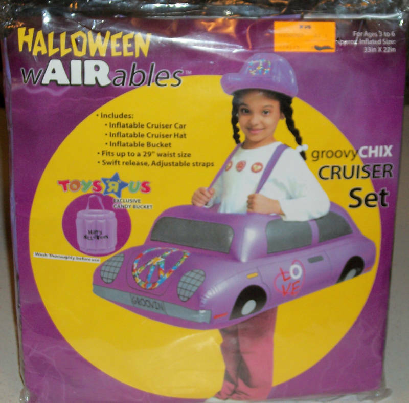 Inflatable Blow up Girls Kids Halloween Trick Or Treat Costume Purple Car Funny