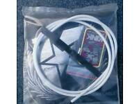 Kink BMX linear brake cable with velcro strap, end cap and sticker. In white. NEW