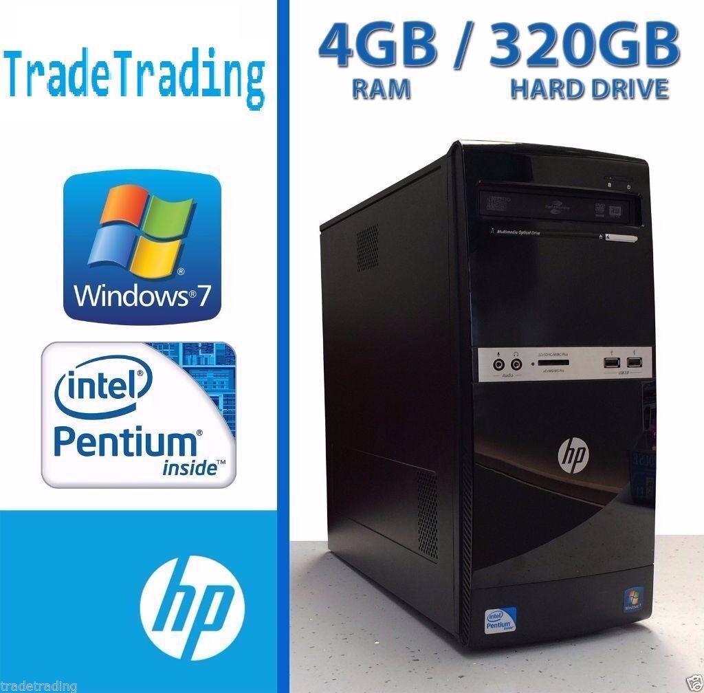 HP 500B Desktop Computer   Pentium Dual Core   4GB   320GB   DVDRW   Window 7