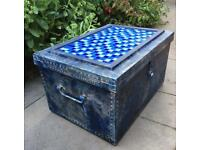 Reworked chest trunk blue mosaic tiled top paper lined