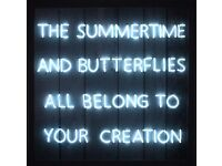 ONE DIRECTION LYRICS NEON SIGN LIGHT BLUE WHITE WOOD FRAME OLIVIA BUTTERFLY 1D HARRY LOUIS NIALL