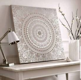 Graham & Brown Embellished Large Fabric Wall Canvas Beige Silver