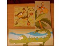 Set of 3 Children's/Childs Jungle/Safari Animal Canvas Prints Monkey, Crocodile/Alligator, Giraffe