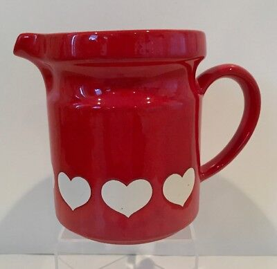 """Waechtersbach Heart Pitcher Red White Germany 5 1/2"""" for sale  Port Royal"""