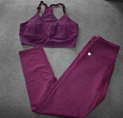 Fabletics Women's 2-piece Outfit Maroon Mesh Seamless Legging and Sports Bra - S