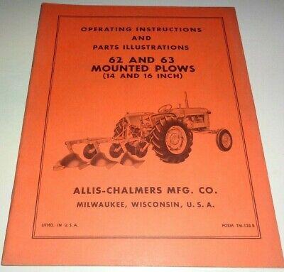 Allis Chalmers 62 63 Mounted Plow Operators Parts Manual Original 1416-inch
