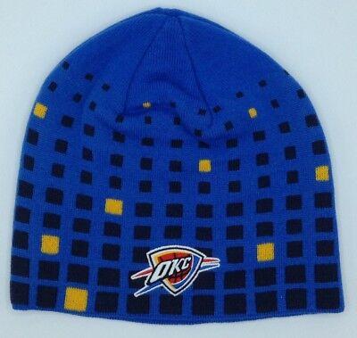 new products f599e e99ea NBA Oklahoma City Thunder Adidas Cuffless Winter Knit Hat Cap Beanie NEW