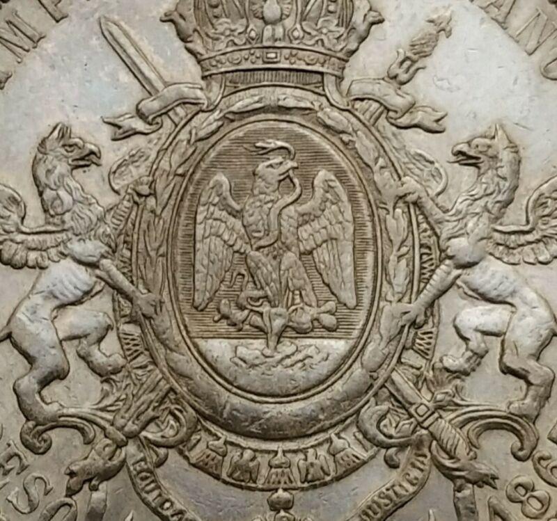 SCC Mexico Maximillian Empire 1 Peso 1867Mo. KM#388.1. Silver Dollar Crown coin